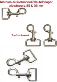 Musketonhaken/sleutelhanger 25 & 33mm zilver
