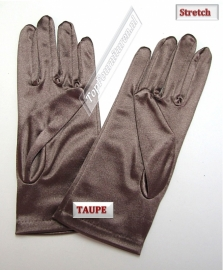 Handschoenen stretch satijn. Kleur Taupe