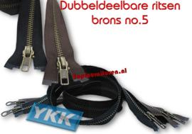 Dubbeldeelbare rits brons no.5 YKK