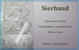 (SB900) Sierband wit & Ivoor 4,0 cm doorsnee