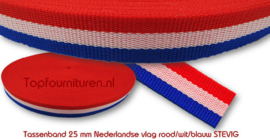 Holland rood wit blauw tassenband 25mm