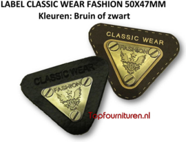 LABEL CLASSIC WEAR FASHION 52X45MM ZWART & BRUIN