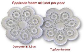 Kanten bloem wit ø 3.5cm (prijs per paar)