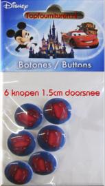 Disney Cars 6 knopen 1.5cm
