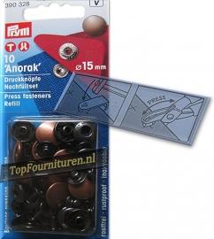 Prym Anorak drukknoop 15 mm oud koper (390328)