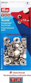 Navulverpakking Anorak drukknopen 12mm zilver Prym 390331