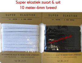 6mm breed Super elastiek  wit & zwart.