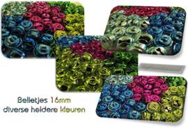 Gekleurde belletjes 10 / 16 mm prijs per 10 stuks