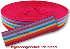 Regenboogelastiek 5cm breed