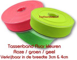 Fluor katoen tassenband 3 & 4cm breed