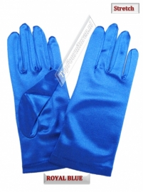 Handschoenen stretch satijn. Kleur Royal blue