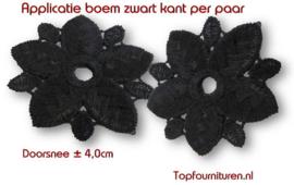 Kanten boem zwart ø 4cm (prijs per paar)