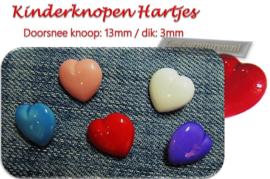 Kinderknopen hartjes in diverse volle kleuren