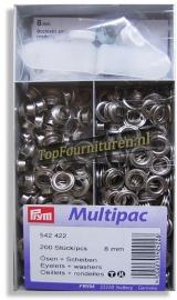 Voordeeldoos 200 stuks nestels Ø 8mm zilver art. 542422
