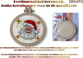 Borduurpakket, leuke kersthanger (kerstman) voor in de kerstboom