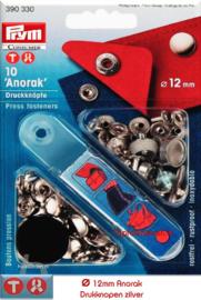 Anorak drukknopen zilver 12mm Prym 390330
