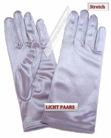 Handschoenen stretch satijn. Kleur lichtpaars