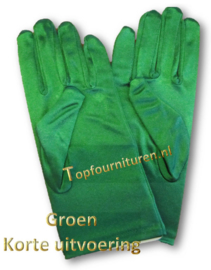 Handschoenen stretch satijn. Kleur Groen