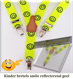 Kinderbretel Smile reflecterend geel