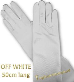 Handschoenen satijn 50cm met vingers