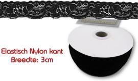 Elastisch nylon kant 3cm breed