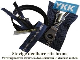 YKK deelbare sierritsen Brons (zware uitvoering) V8 (jasritsen)