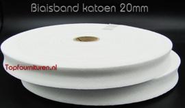 Biaisband katoen 20mm wit per 5 meter/per rol 100m