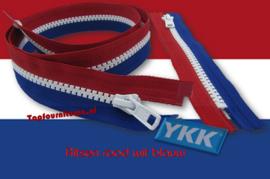 YKK Deelbare ritsen no.5 kunststof rood wit blauw