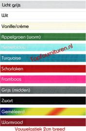 Vouwelastiek-afzetbies in diverse kleuren per 5 meter.