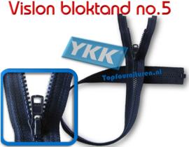 Bloktand Vislon 5VS & 10VS deelbare ritsen YKK