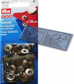 Prym Anorak drukknoop 15 mm zilver (390321)
