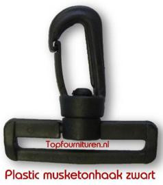 Musketonhaak 5cm zwart plastic