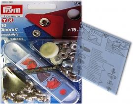 15mm Prym Anorak drukknopen met pons 390301 Zilver