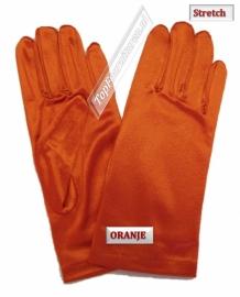 Handschoenen stretch satijn. Kleur Oranje