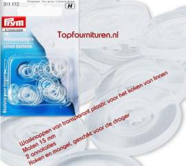Wasknoppen 15mm transparant voor het koken van linnen