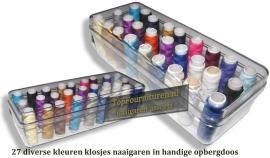 Sewing box met 27 klosjes handnaaigaren diverse kleuren