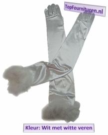 Handschoen wit met veren