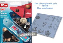 15mm Prym Anorak drukknopen met pons 390299 oud messing