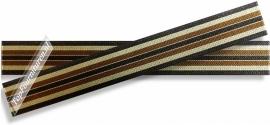 Elastiek gestreept hoofdkleur bruin 2,5cm breed