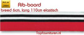 Rib-Boord Rood / zwart-wit getreept (2064)