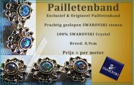 Exclusief Pailletenband Origineel Swarovski Crystal, prachtig geslepen!