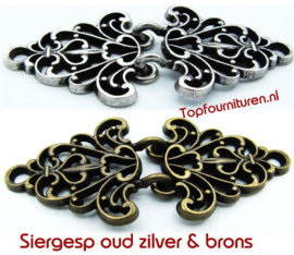 Siersluiting oudzilver & brons met dubbele haak