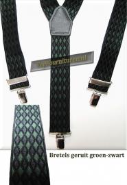 bretels groen-zwart geruit 3 clips