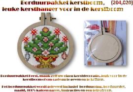 Borduurpakket, leuke kersthanger (Kerstboom) voor in de kerstboom.