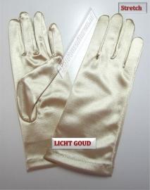 Handschoenen stretch satijn. Kleur lichtgoud