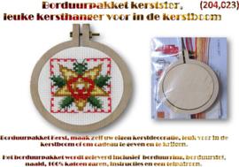 Borduurpakket, leuke kersthanger (Kerstster) voor in de kerstboom
