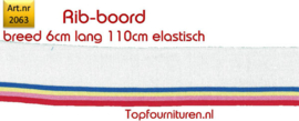 Rib-Boord wit-blauw, geel, roze, rood (2063)