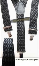 bretels zwart-grijs geruit 3 clips