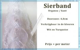 (SB300) Sierband met Organza roosjes kleuren wit & Turquoise