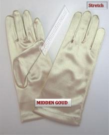 Handschoenen stretch satijn. Kleur middengoud